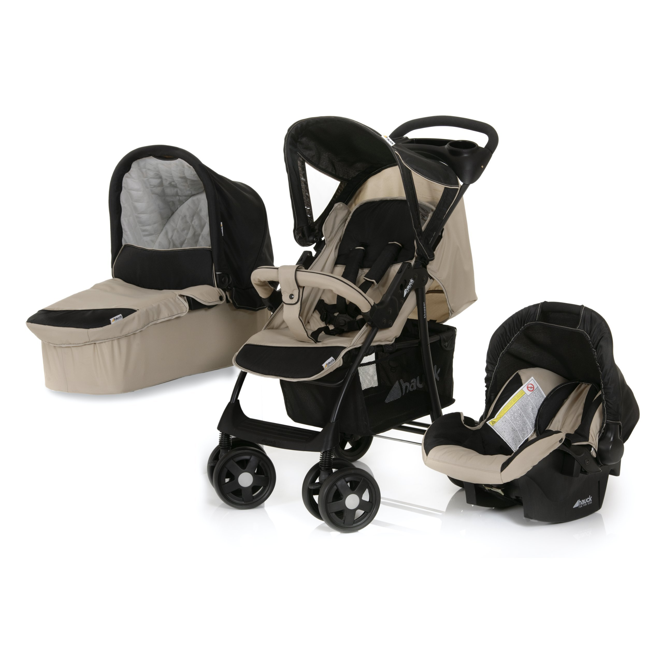Hauck Shopper Trio Set - Carrito con capazo y grupo 0+, color negro/
