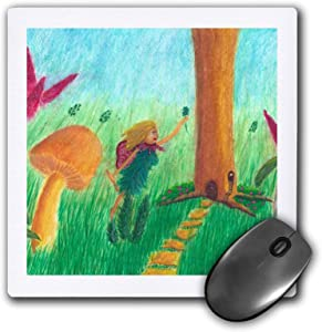 3dRose Colorful Painting of a Fairy in a Garden by a Tree and Large. - Mouse Pads (mp_334875_1)