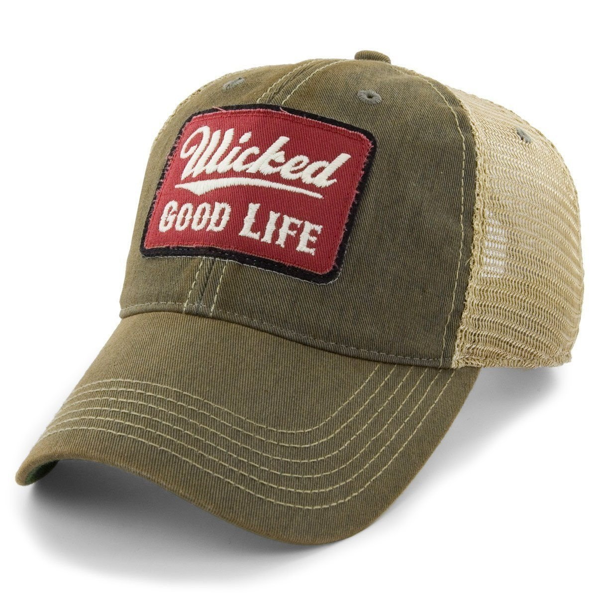 06ccec7d744 Chowdaheadz Wicked Good Life Dirty Water Mesh Trucker Hat - Sandalwood at  Amazon Men s Clothing store