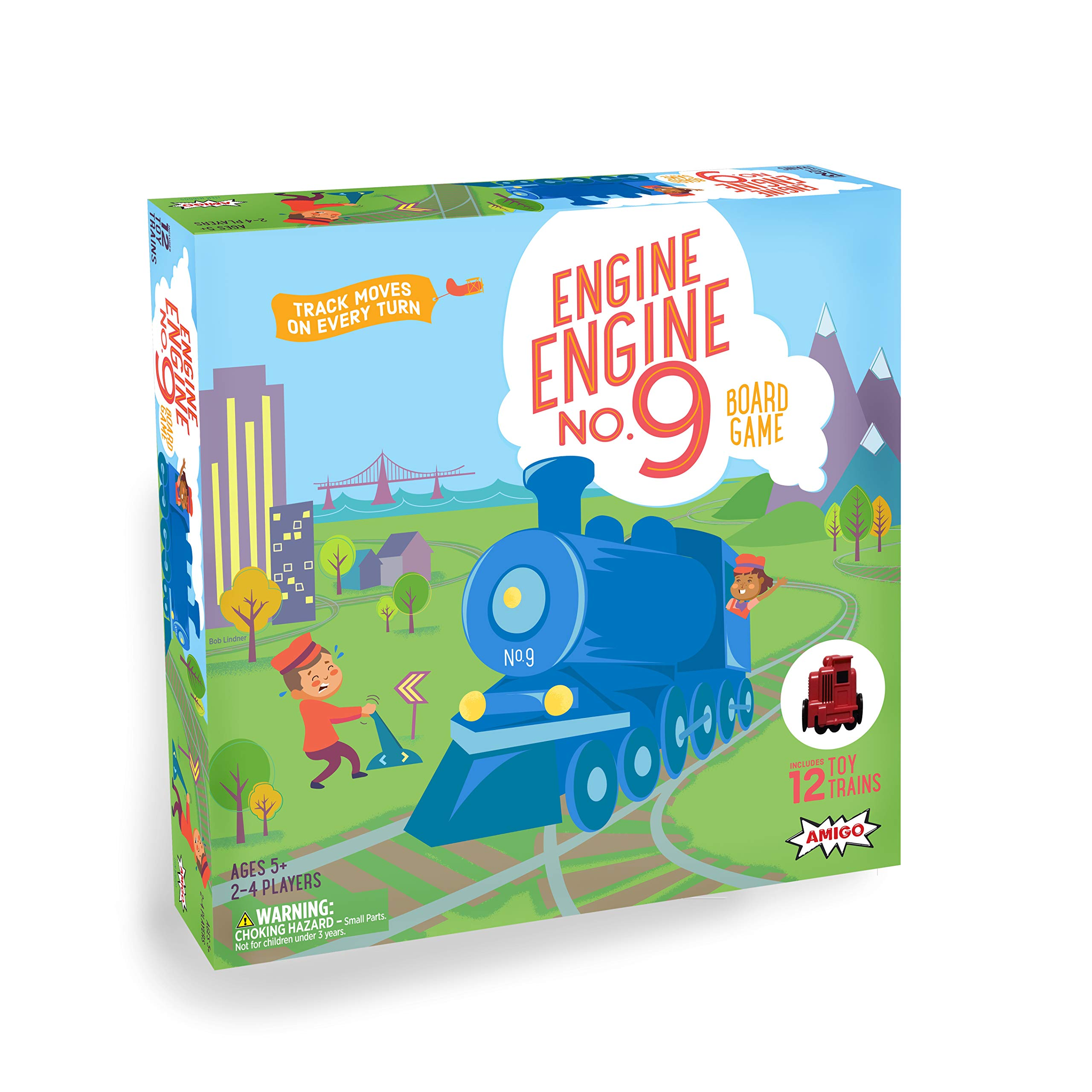 AMIGO Games Engine, No. 9 Kids Board Game with 12 Toy Trains