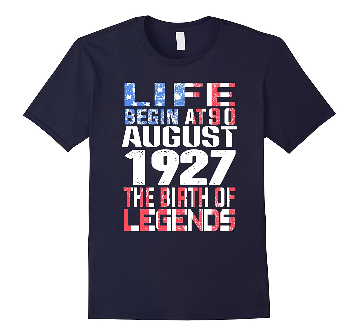 August 90th Birthday T-Shirt Made in 1927 Life Begins-Art