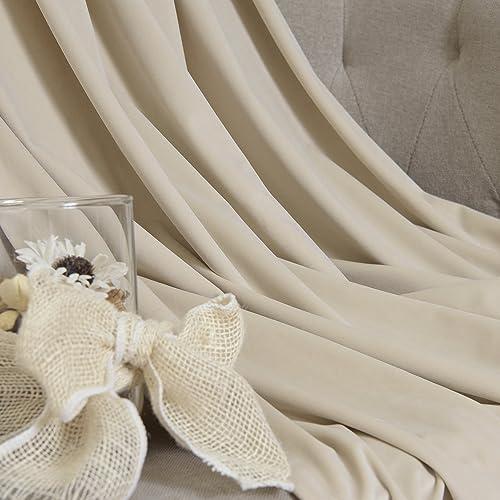 Best Home Fashion Luster Velvet Grommet Room Darkening Curtains – Stainless Steel Grommet Top – Beige – 52 W x 96 L 1 Panel