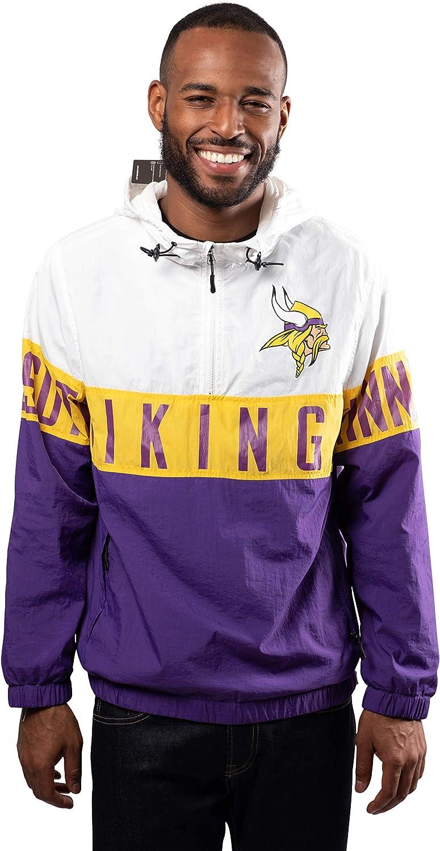 Ultra Game NFL Men's Quarter Zip Hoodie Windbreaker Jacket