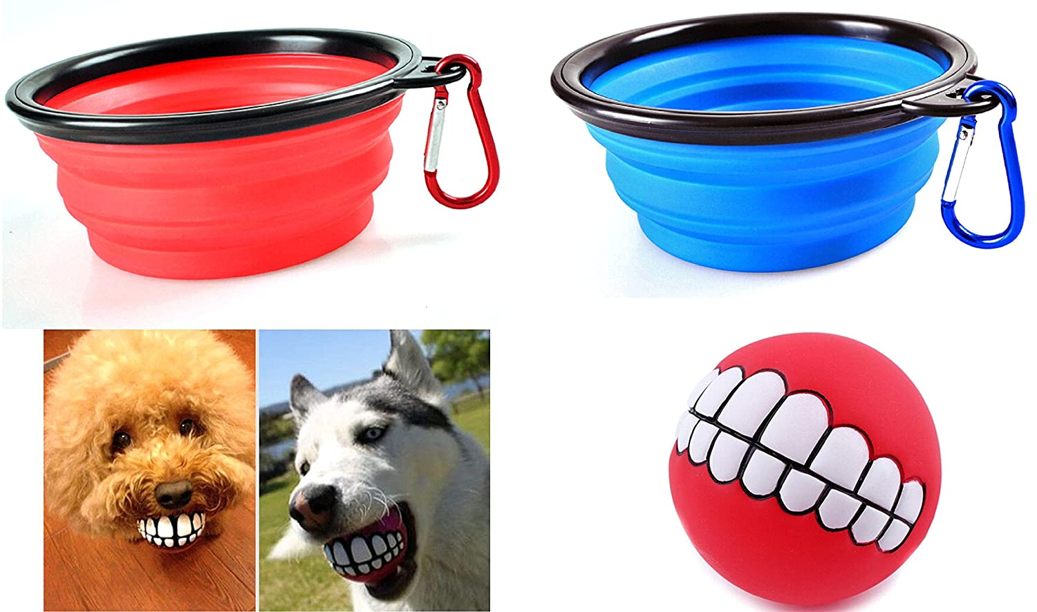 2 Collapsible Dog Bowls + 1 Funny Smiling Teeth Ball. Bowls Are Food Grade Silicone BPA Free FDA Approved, Foldable Expandable Dish for Pet Dog Food Water Feeding Portable Travel Bowls Free Carabiners