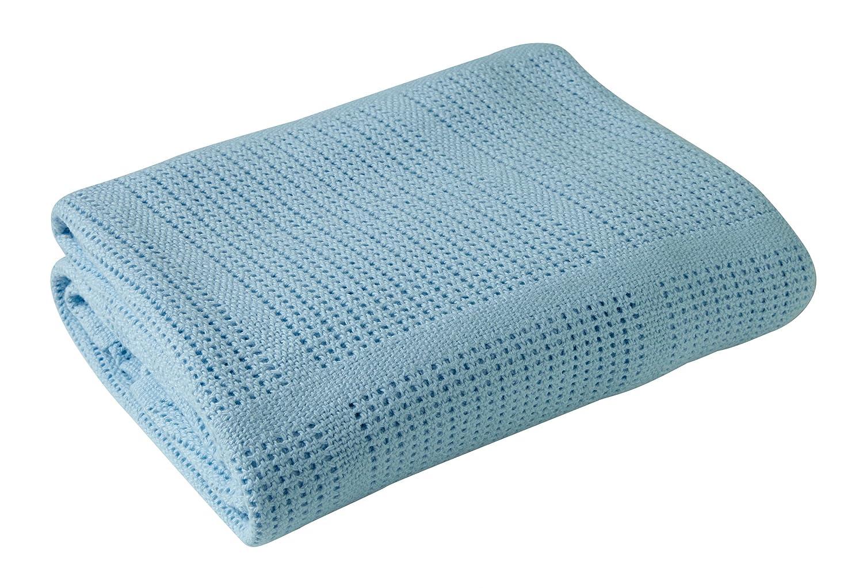 Clair de Lune Cot Bed/ Cot Extra Soft Cotton Cellular Blanket (Blue) CL4984B