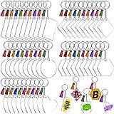 200Pcs Blank Keychains for Vinyl, Acrylic Keychain Blanks Bulk with 5 Shapes Clear Acrylic Disc Leather Tassel Charms Key Cha