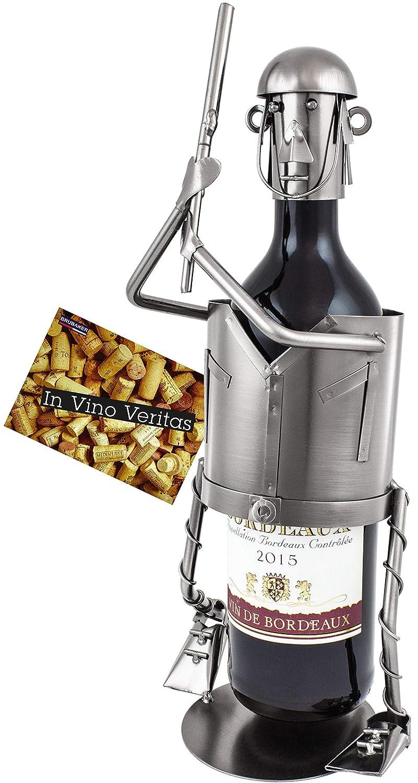 BRUBAKER Soporte de botella de vino b/éisbol jugador de metal con tarjeta de felicitaci/ón