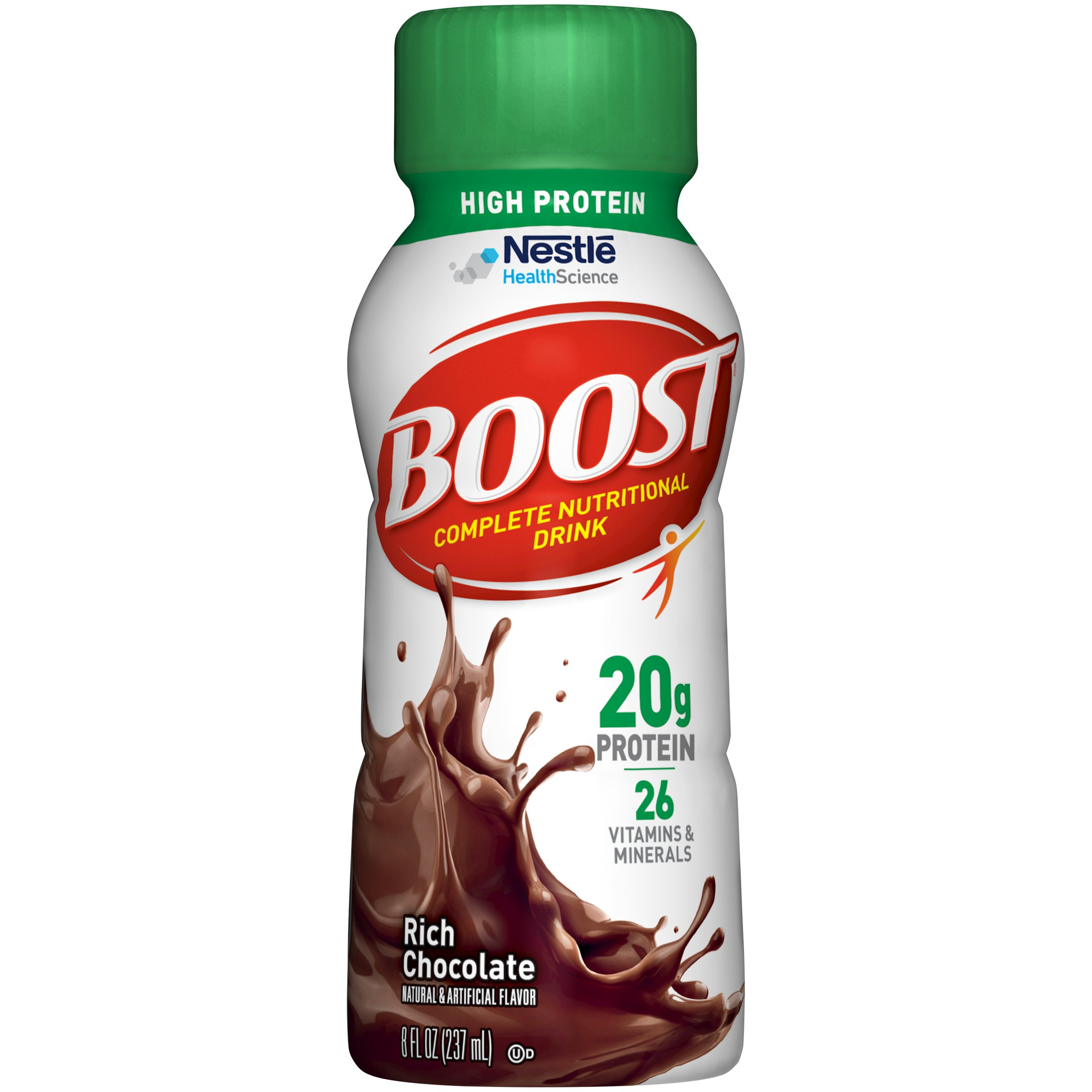 Boost High Protein Complete Nutritional Drink, Rich Chocolate, 8 Ounce Bottle (Pack of 24) 20 Grams Protein