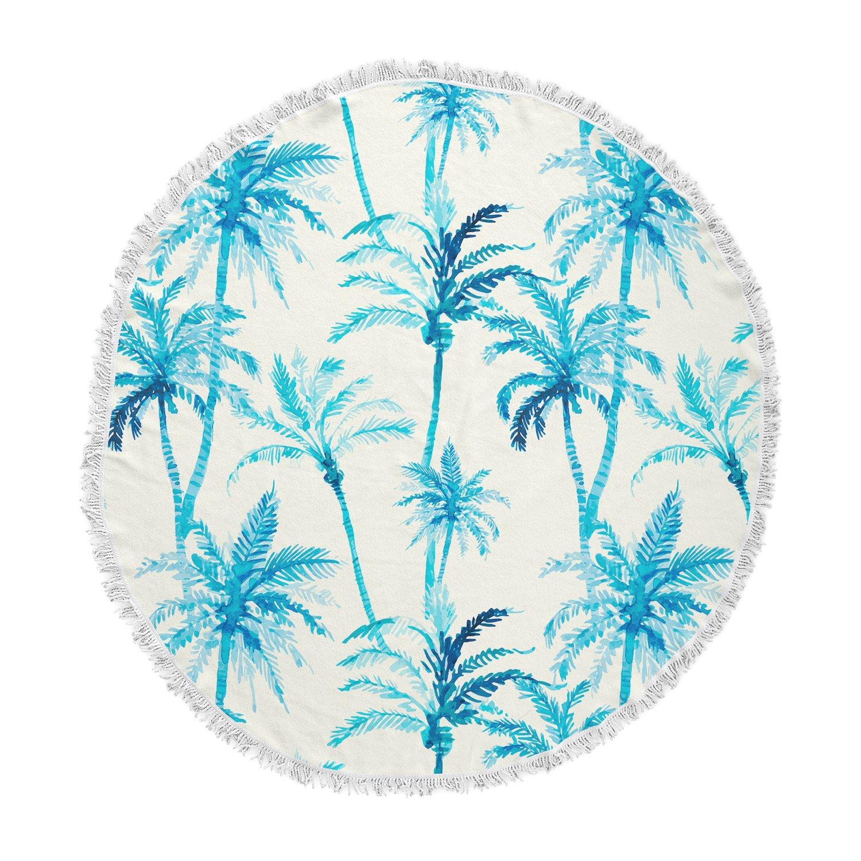 Kess InHouse Mmartabc Tropical Watercolor Palm Trees Beige Blue Illustration Round Beach Towel Blanket