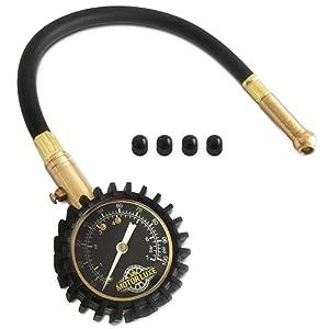 Motor Luxe Manomètre Pression Pneus 100 PSI / 7 Bar - Précise Jauge de Pression des Pneu pour votre Voiture et Moto - 4 Bouchons de Valve Gratuits