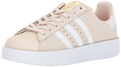 adidas Originals Women's Superstar Bold W, Linen,FTWWHT,Goldmt, 9 Medium US
