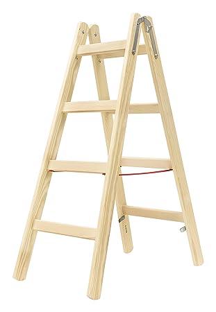 Turbo Hymer Holz Sprossenstehleiter 2x4 Sprossen (Leiter beidseitig WM11