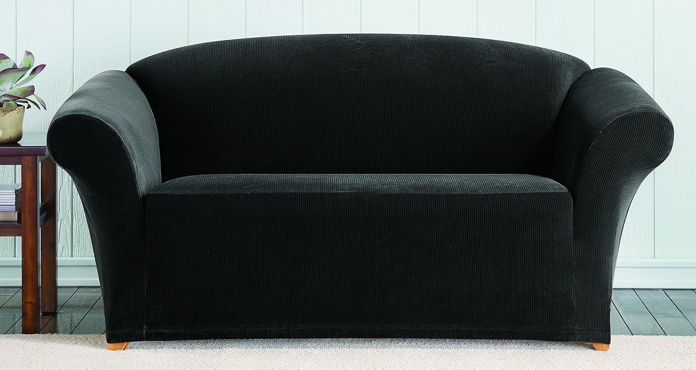 SureFit Stretch Pixel Corduroy 1-Piece - Sofa Slipcover - Black