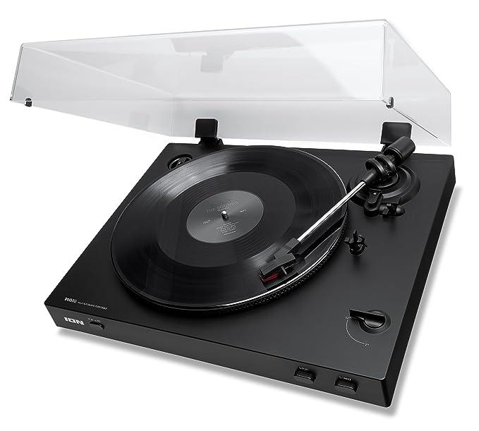 ION Audio PRO80 Automatic - Giradiscos Automático de 2 Velocidades (33 1/3 y 45 RPM) con Accionamiento de Correa con Cubierta para el Polvo y Salida ...
