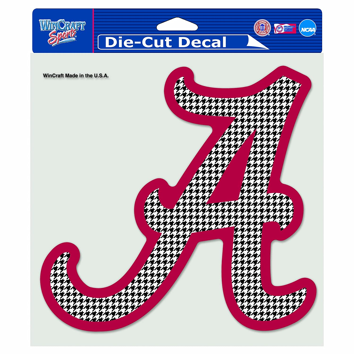 NCAA Alabama Crimson Tide  Hounds-tooth 8-by-8 Inch Diecut Colored Decal