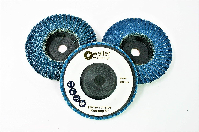 Accessoires pour meules /à bois en acier inoxydable Jeu de 3 rondelles dentel/ées/ 60//80//120 pour Bosch GWS 10,8 10 8 12 V 12 76