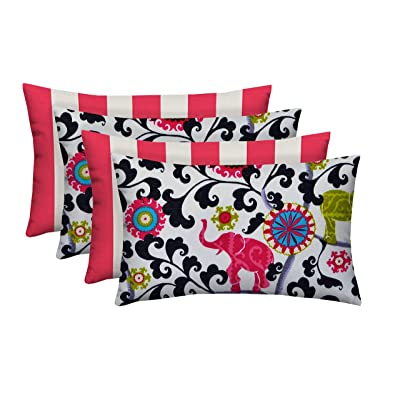 """RSH Décor Designer Indoor/Outdoor - 4 Pack Coordinating Pillow Sets (20"""" x 12"""", 2 Hot Pink & White Stripe & 2 Pink Bohemian Elephant): Home & Kitchen"""
