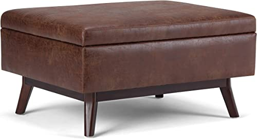 Simpli Home AXCOT267S-DSB Owen 34 inch Wide Mid Century Modern Square Storage Ottoman in Distressed Saddle Brown Faux Air Leather Renewed