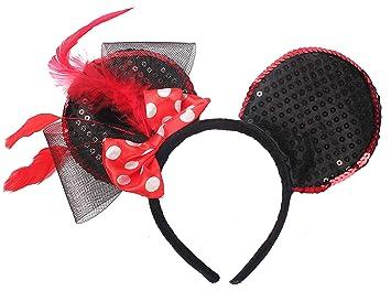 891e3524235 Amazon.com   Mickey Minnie Mouse Ears Headbands Sequin Fabric Disney Parks  Birthday Headwear with Polka Dot Bow for Grils and Women   Beauty