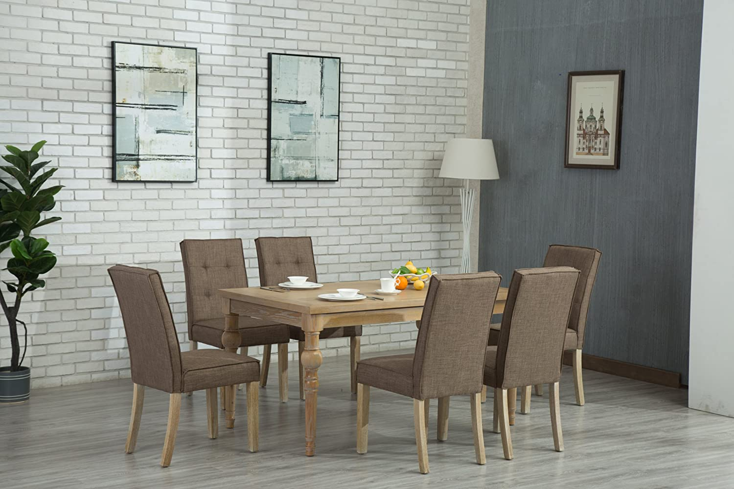 Oliver Smith – Roosevelt Collection – 7 Piece Dining – Table and 6 Chairs – Dinette Table Linen Chairs Set Antique Washed Oak 150262darkgrey