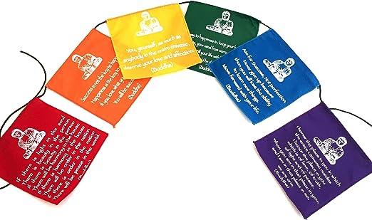 Buddhist Buddha 7 Colour Prayer Flags Fair Trade Made in India Hippy Decor