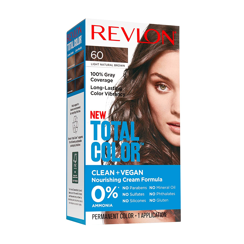 Revlon Total Color Permanent Hair Color, Clean and Vegan, 100% Gray Coverage Hair Dye, 60 Light Natural Brown, 3.5 oz