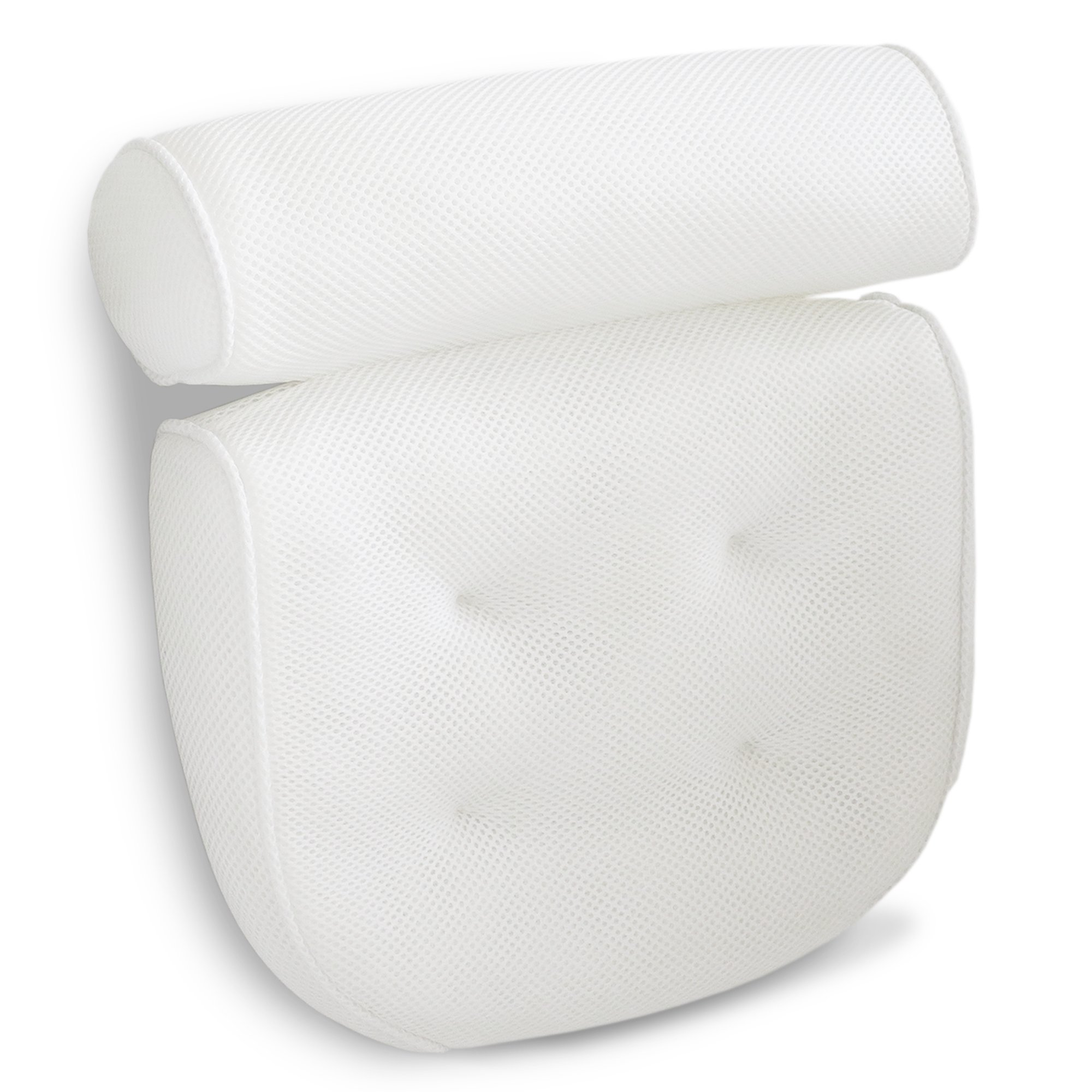 Viventive Luxury Spa Bath Pillow with Head, Neck, Shoulder and Back Support. Non-Slip, Extra Thick, Soft and Large 14x13in for the ultimate relaxation experience. Fits any tub and is Anti-Bacterial