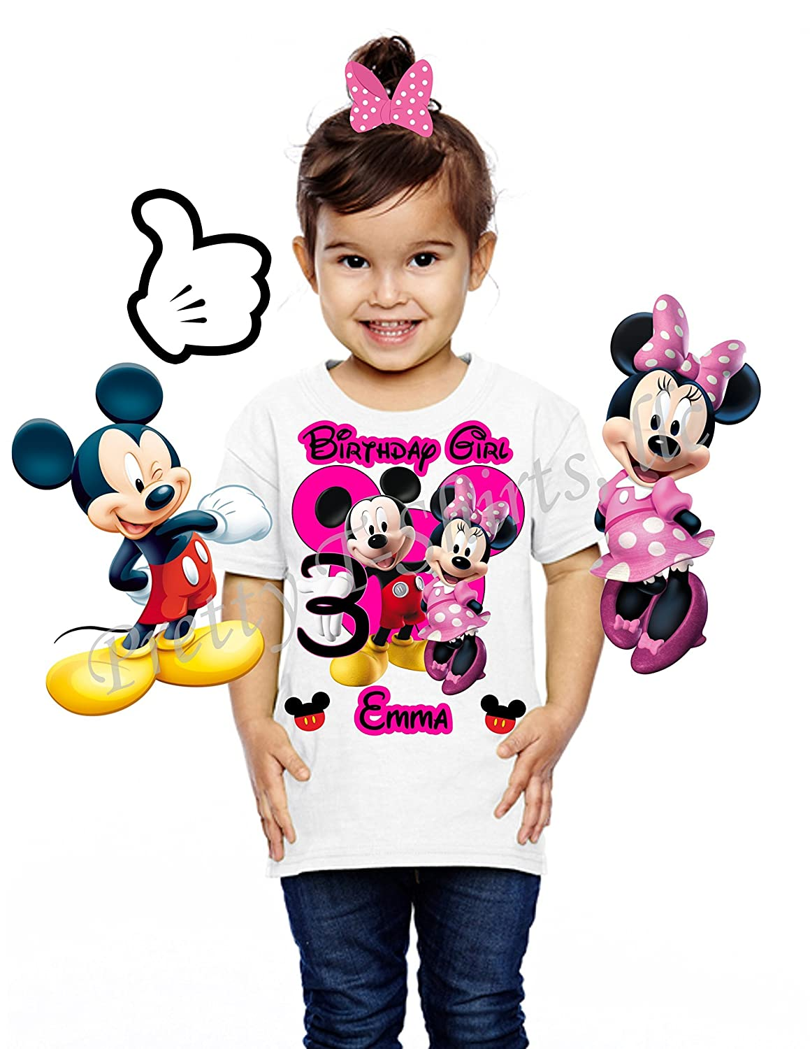 Mickey And Minnie Birthday Shirt ADD Any Name Age FAMILY Matching Shirts Disney