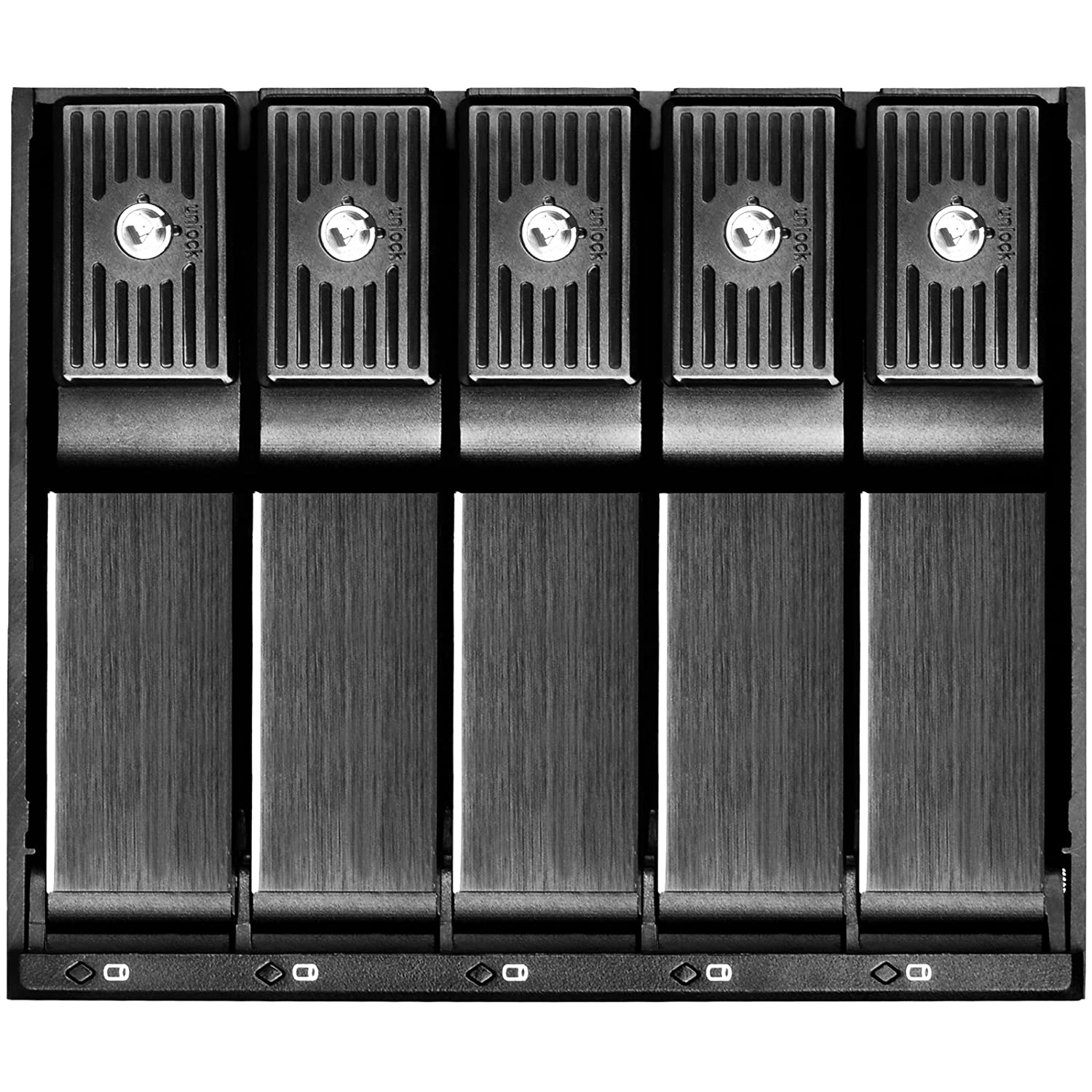 SilverStone SST-FS305B black 5 Bay Aluminium Trayless Hot Swap Mobile Rack Backplane with Fan and Lock for SAS//SATA HDD