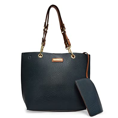 d6473c58b6b1 Amazon.com  Adrienne Vittadini Pebble Grain Shopper Tote With Accessory  Pouch  Shoes