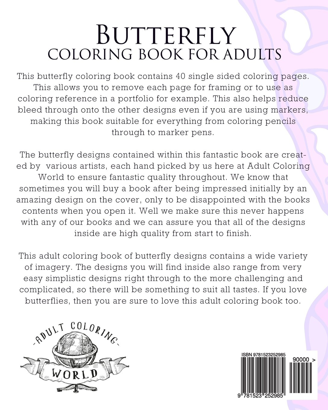 Amazon Com Butterfly Coloring Book For Adults An Adult Coloring