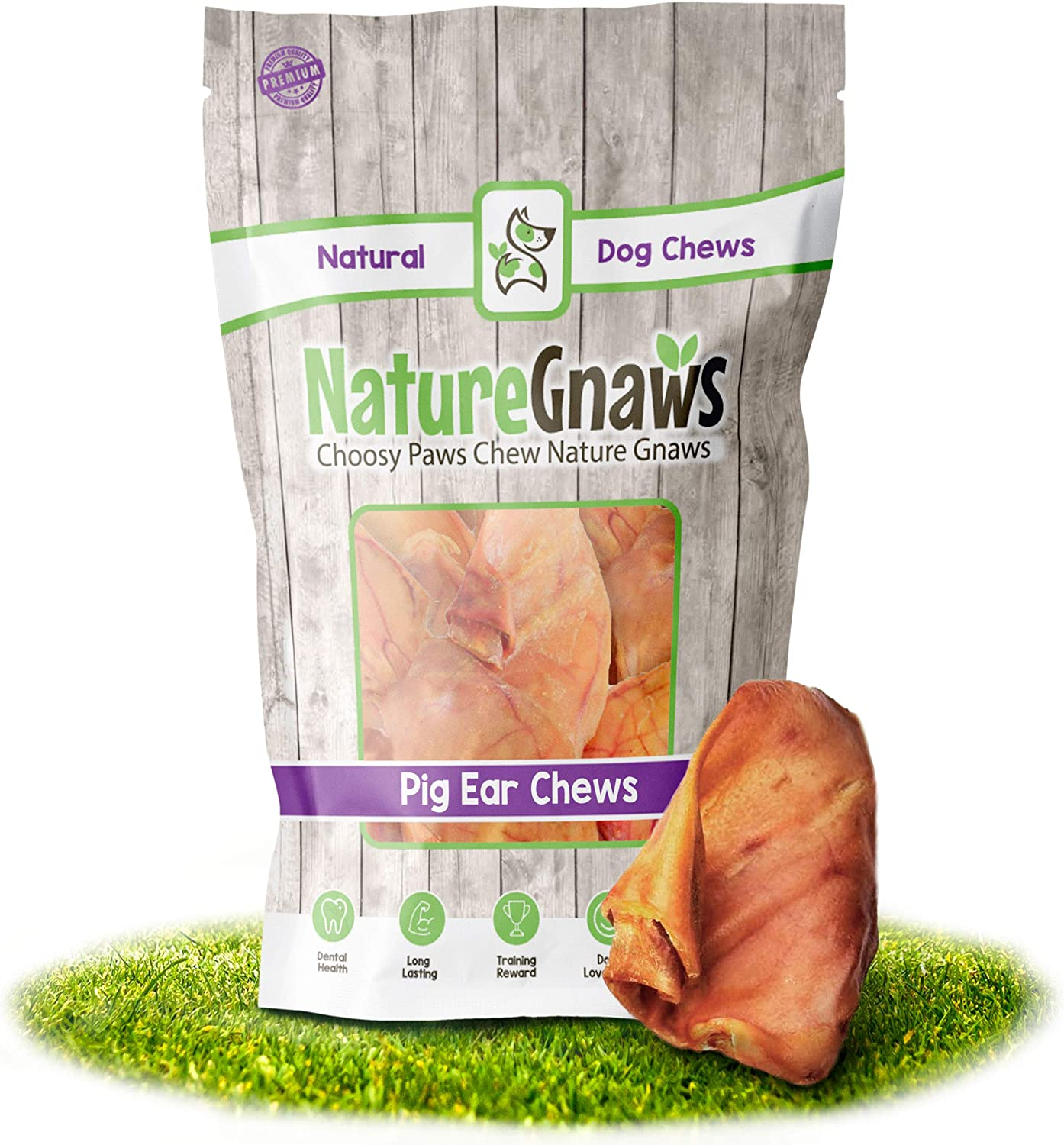 Nature Gnaws Pig Ears for Dogs - Premium Natural Whole Pork Chews - Simple Long Lasting Dog Treats for Large Dogs and Aggressive Chewers - Rawhide Free