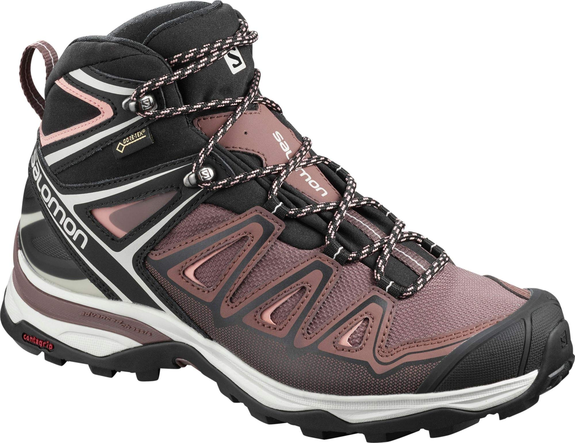 Salomon Women's X Ultra 3 Mid GTX Hiking Boots, Peppercorn/Black/Coral Almond, 6.5 by SALOMON