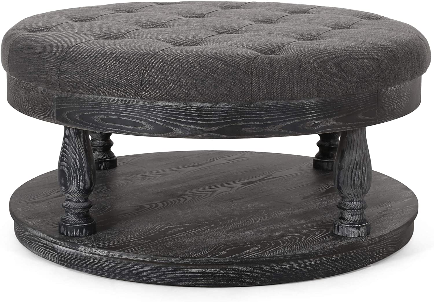 Christopher Knight Home Francis Contemporary Fabric Round Ottoman, Charcoal and Gray