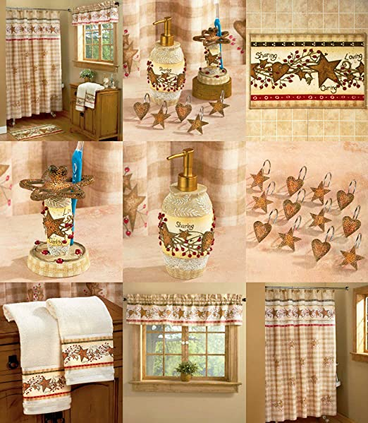 LINDA SPIVEY HEARTS AND STARS BATHROOM COLLECTION SHOWER CURTAIN TOWELS RUG++