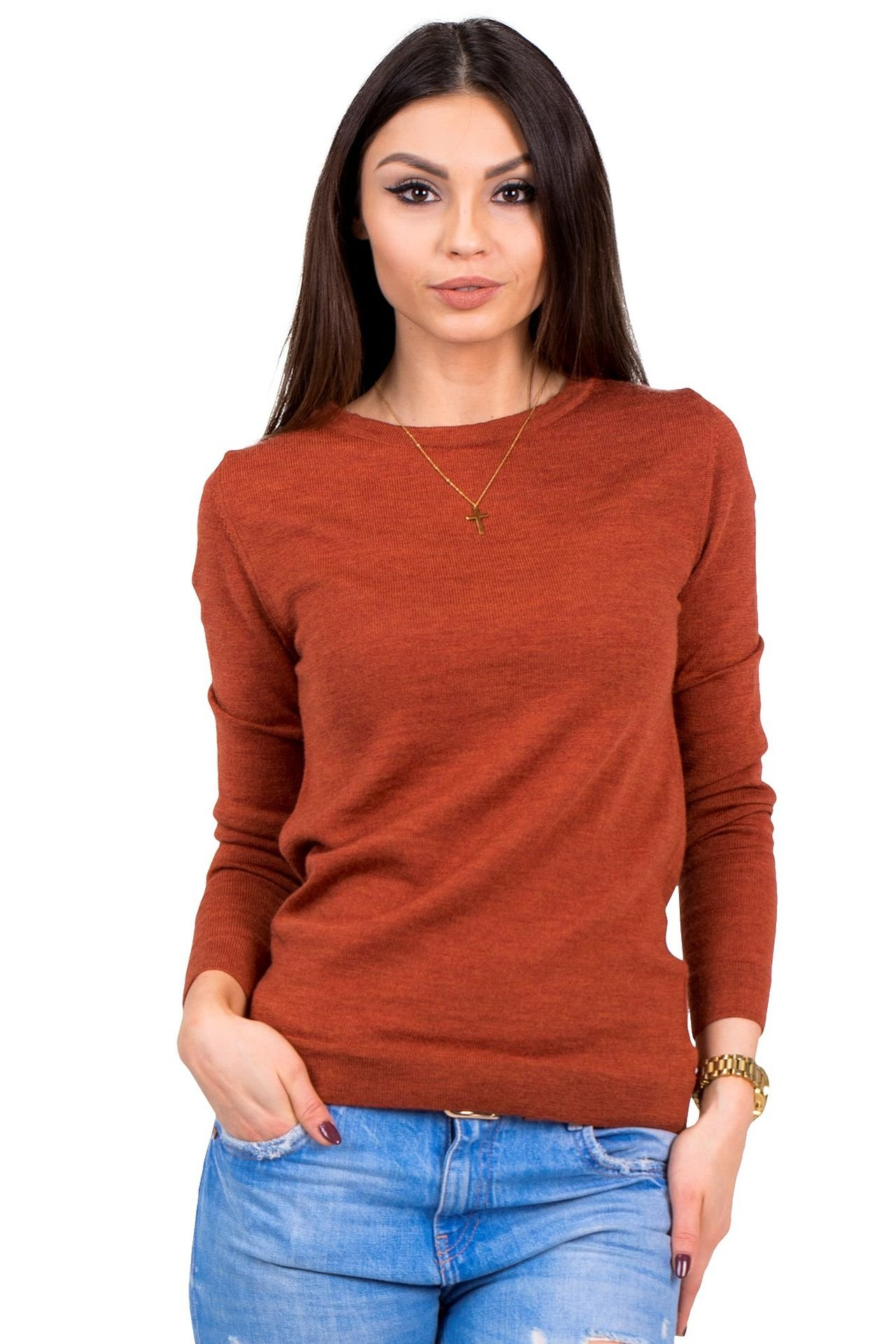 Women's Pure Merino Wool Classic Knit Top Lightweight Crew Neck Sweater Long Sleeve Pullover (Small, Orange) by KNITTONS