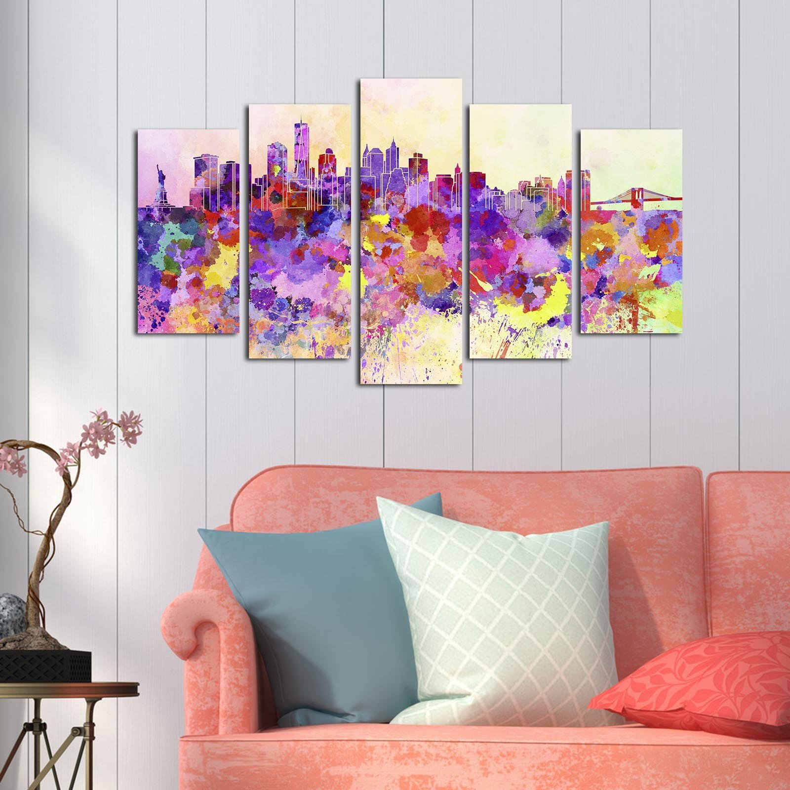 LaModaHome Decorative 100% MDF Wall Art 5 Panels (43'' x 24'' Total) Ready to Hang Painting Colourful Abscract City America Buildings Splash