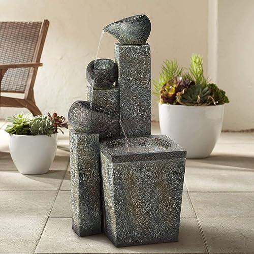 Asian Garden Tiered Zen Outdoor Floor Water Fountain