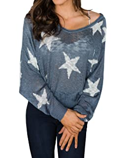 aab87037c239c4 Liyuandian Womens Summer Star Knitted Sweater Loose Batwing Baggy Sweaters