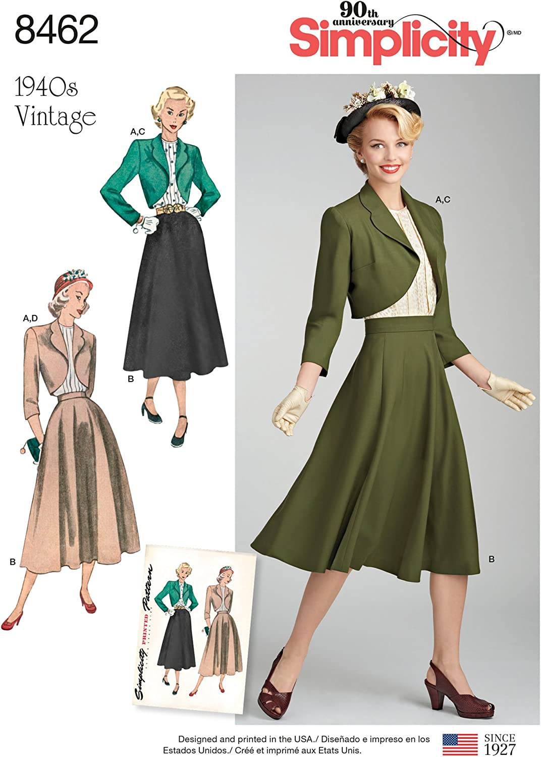 Simplicity US8462U5 1940s Fashion Womens Vintage Blouse Bolero and Skirt Sewing Patterns Sizes 16-24