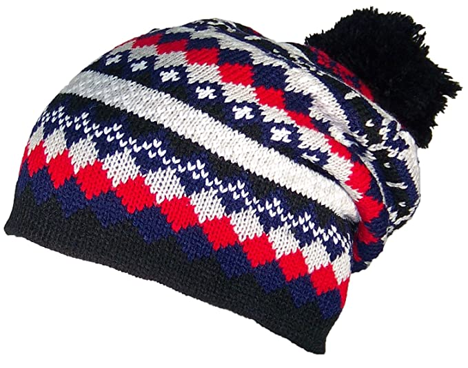 63465296b91 Best Winter Hats Adult Multi-Color Jacquard Winter Hat W Large Pom (One  Size) - Red Navy Gray at Amazon Men s Clothing store