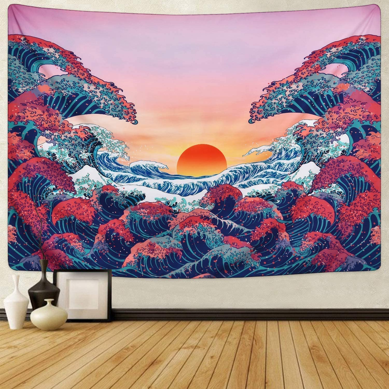 arazzo da parete con animali balena Arazzo da parete in tessuto di poliestere per camera da letto e soggiorno motivo: delfini 150 x 130 cm JOLIGAEA motivo a onde marine