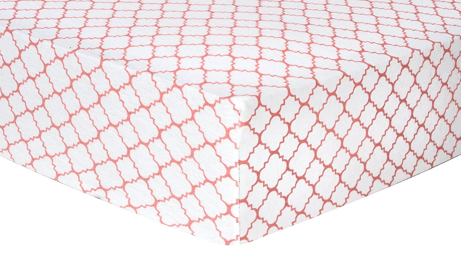 Trend Lab Quatrefoil Deluxe Flannel Fitted Crib Sheet, Coral 101244
