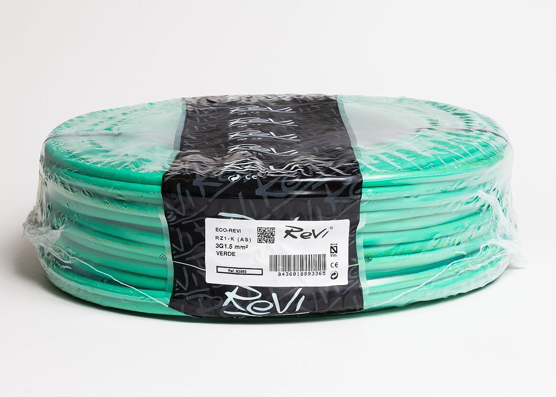 Cable RZ1-K 0, 6/1kV (AS) Libre de Haló genos 3x1, 5mm 50m (Verde) 6/1kV (AS) Libre de Halógenos 3x1 REVI
