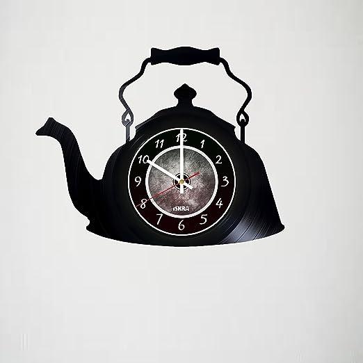 Tea Pot Shaped Wall Clock For Kitchen,Non-Ticking,Black//White