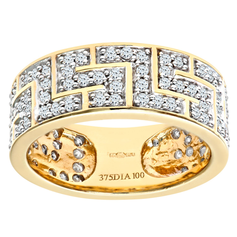 Naava Men\'s 9 ct Yellow Gold 1 ct Diamond Greek Key Ring: Amazon ...