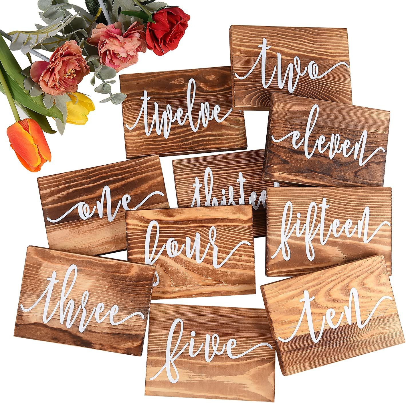 BasedFloor Rustic Wooden Wedding Table Numbers-Country Wedding Table Decoration,Double Sides Wood Table Signs for Reception Decor,Restaurant, Celebration,Birthday Party, 5.5