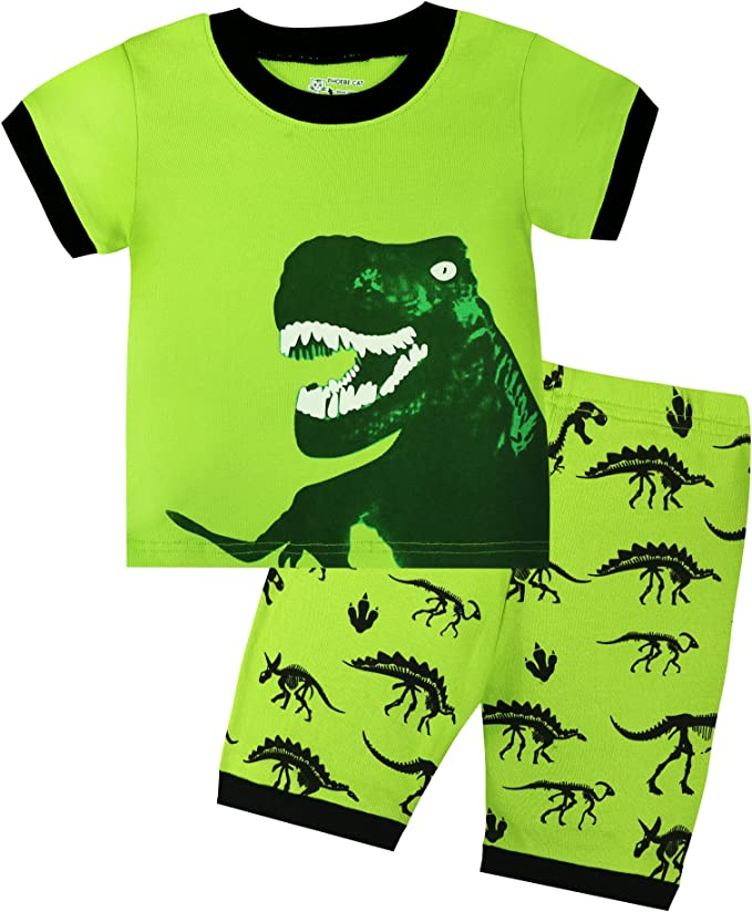 Yong An Little Boys Cartoon Dinosaur Sleepwears Set Pajamas 100/% Cotton Clothes