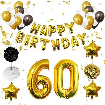 BELLE VOUS 60 Cumpleaños Decoracion - Globos de Cumpleaños Guirnalda - Globos de Helio para el Aniversario de Boda, Fiesta Décor para Niña Niño Hombre ...