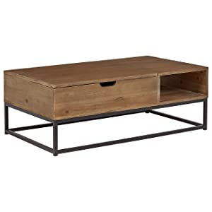 "Rivet Modern Reclaimed Fir Wood Storage Coffee Table, 43""W, Natural and Black"